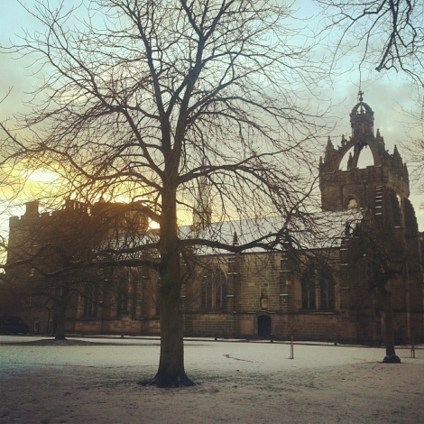 King's college in the snow